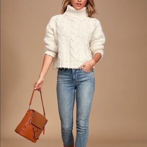 Sage Celestial Ivory Cable Knit Turtleneck Sweater